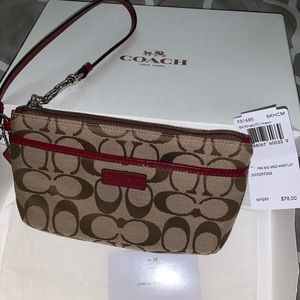 NWT Coach Signature Medium Wristlet Khaki/Crimson